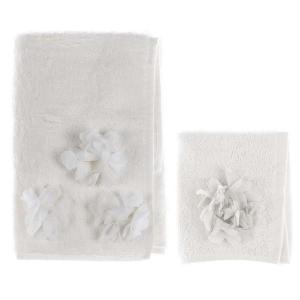 Coppia asciugamano con applicazione fiore