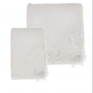 Coppia asciugamano con 3 fiori